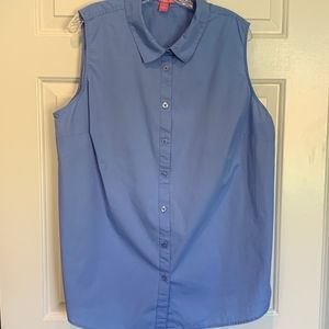 Woman Within Sleeveless Blue Button Up, Size 22/24
